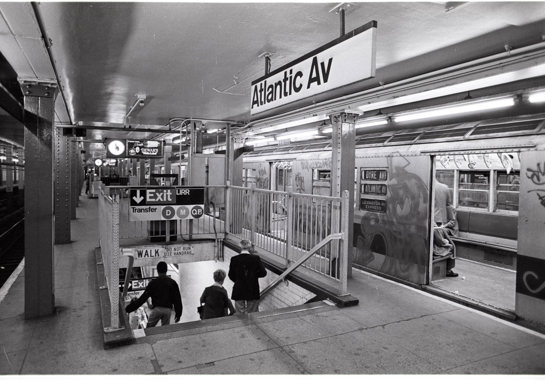 Atlantic avenue station new york city subway signage c 1973