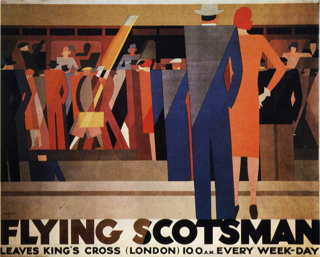 "The caption for this poster reads Leo Marfurt, ""Flying Scotsman,"" poster, 1928, Great Britain (Jacques Mallet Fine Arts, New York)."