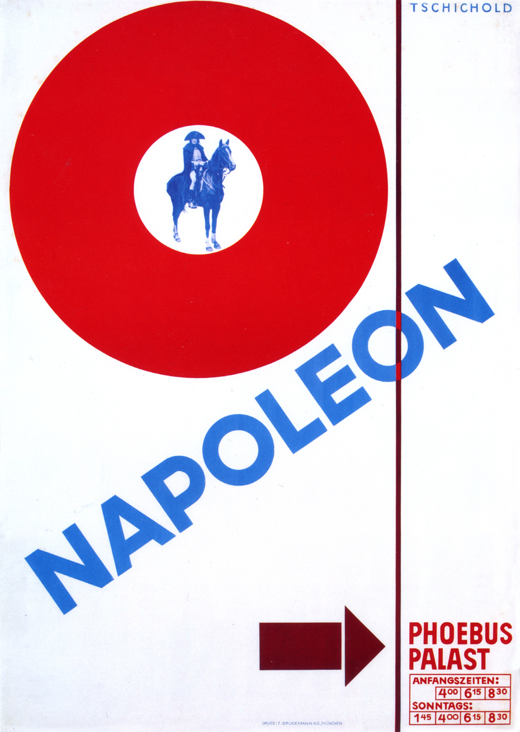 Napoleon poster by Jan Tschichold for the Phoebus-Palast (1927). The title has been handlettered, a fact that is not obvious in reduced size reproductions.