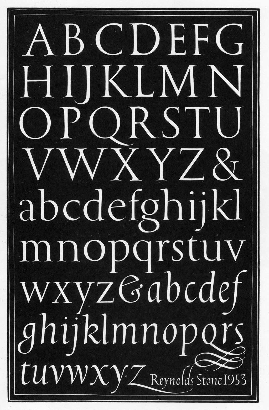 Wood engraved alphabets by Reynolds Stone (1953). Courtesy of Humphrey Stone.