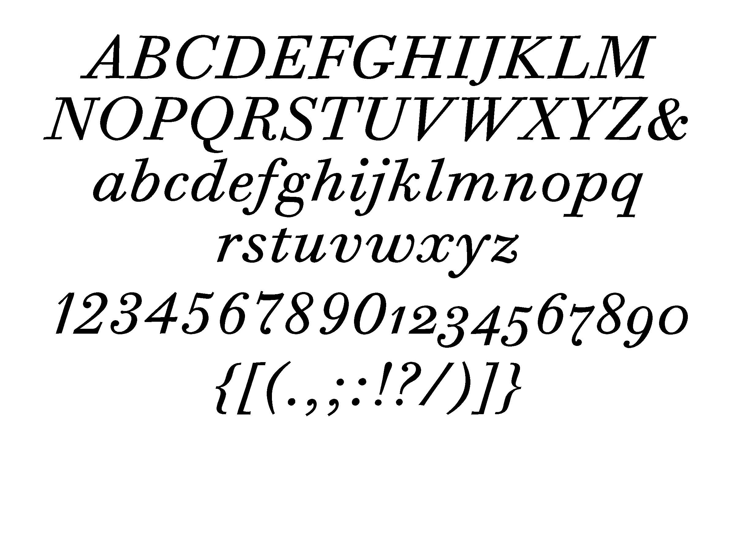 ITC Bodoni 6 italic (set at 72 pt)