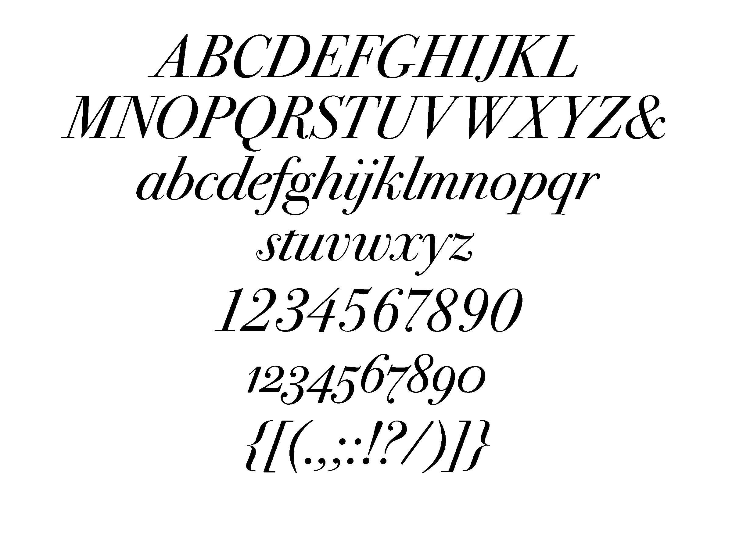 ITC Bodoni 72 italic (set at 72 pt)