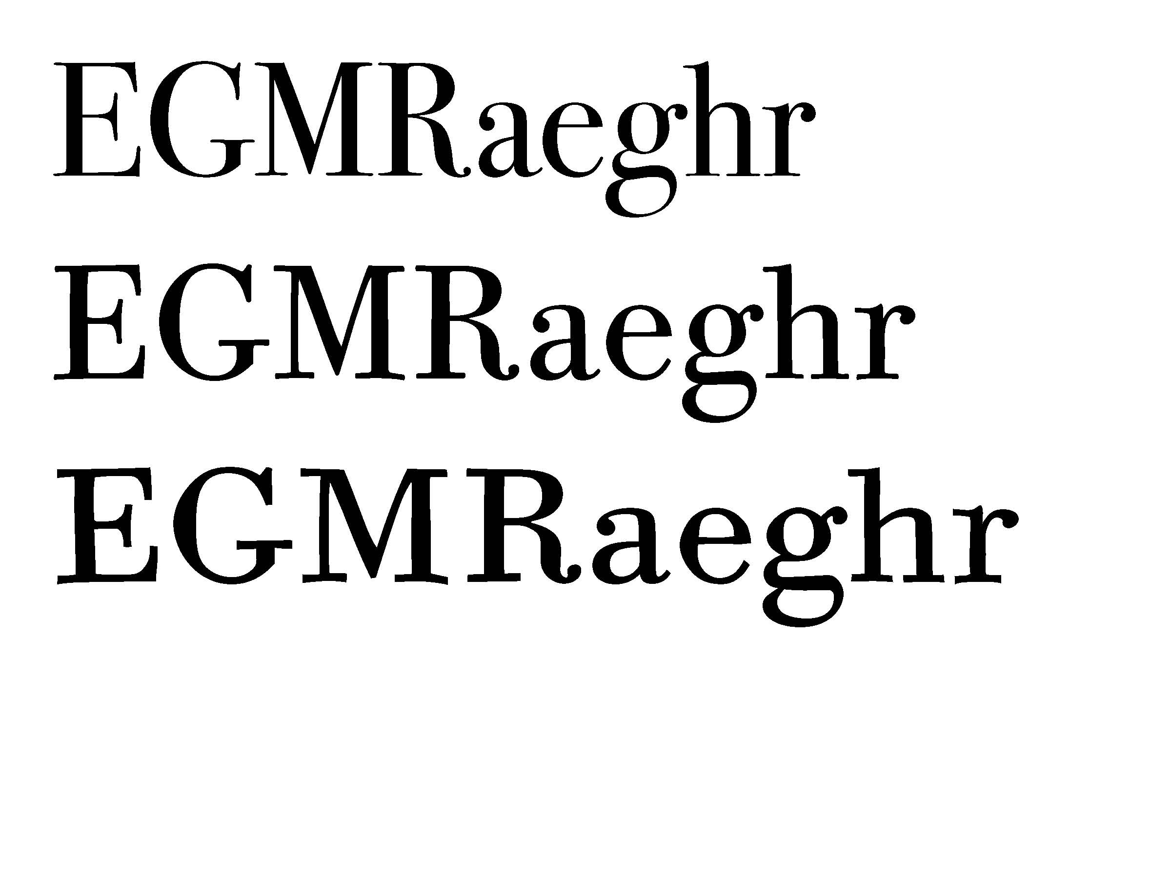 Comparison of selected letters from ITC Bodoni 72 (top), ITC Bodoni 12 (middle) and ITC Bodoni 6 (bottom)
