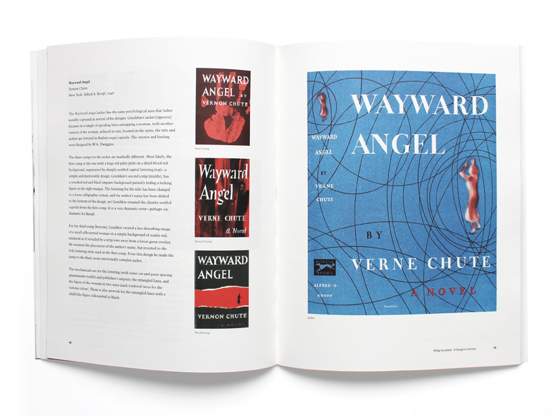 Spread from Philip Grushkin: A Designer's Archive showing comps and final design of Wayward Angel.