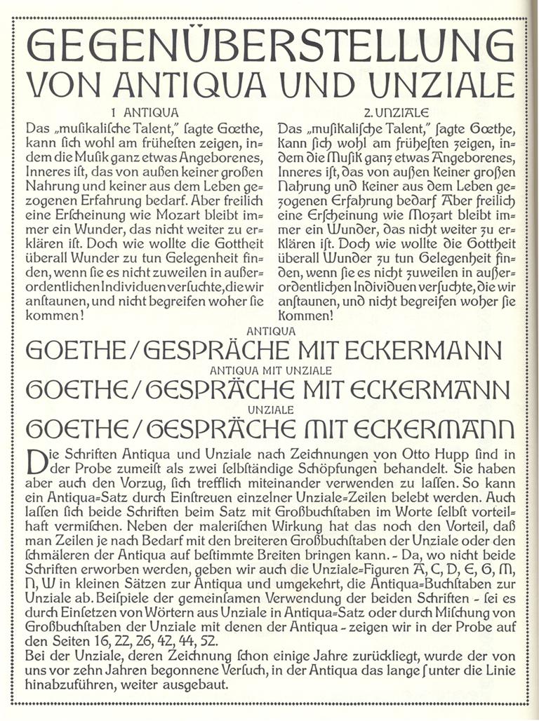 Hupp-Antiqua and Hupp-Unziale by Otto Hupp (Gebr. Klinspor, 1910). From Atlas zur Geschichte der Schrift 7.