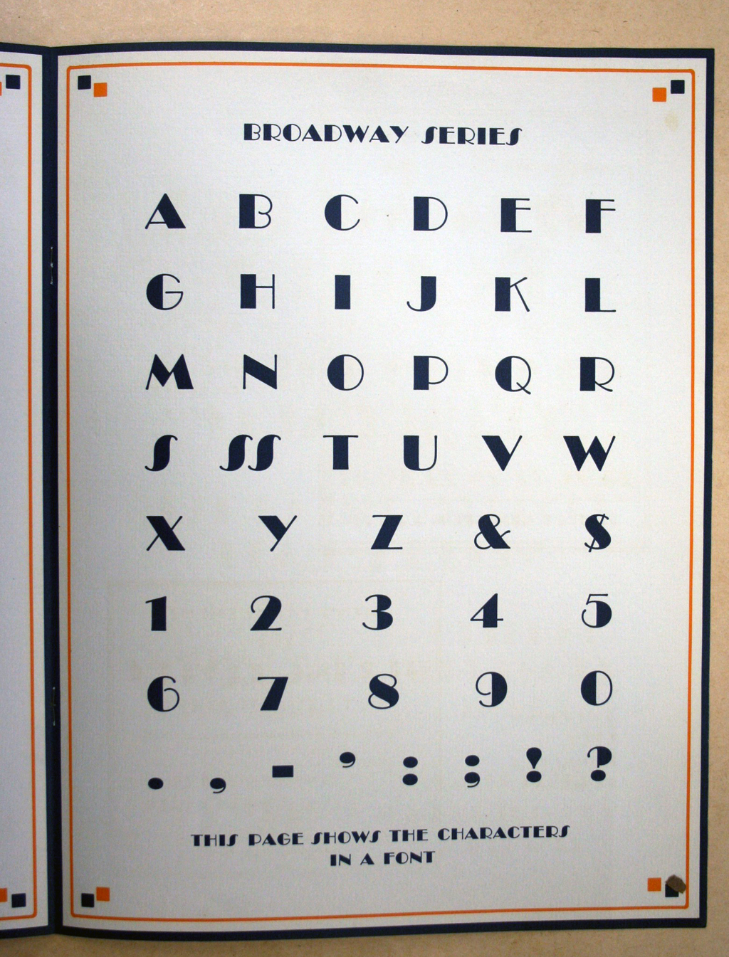 Character set for Broadway (Morris Fuller Benton, American Type Founders, 1928).