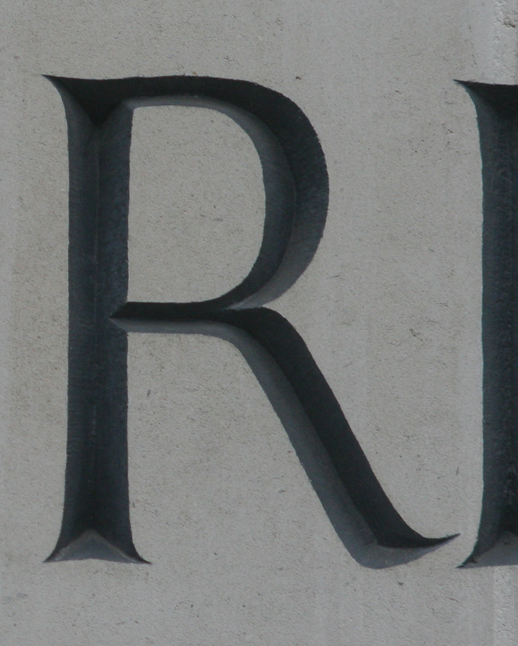 R from inscription on Haberdashers Hall (Farringdon, London). Photograph 2014 by Paul Shaw.