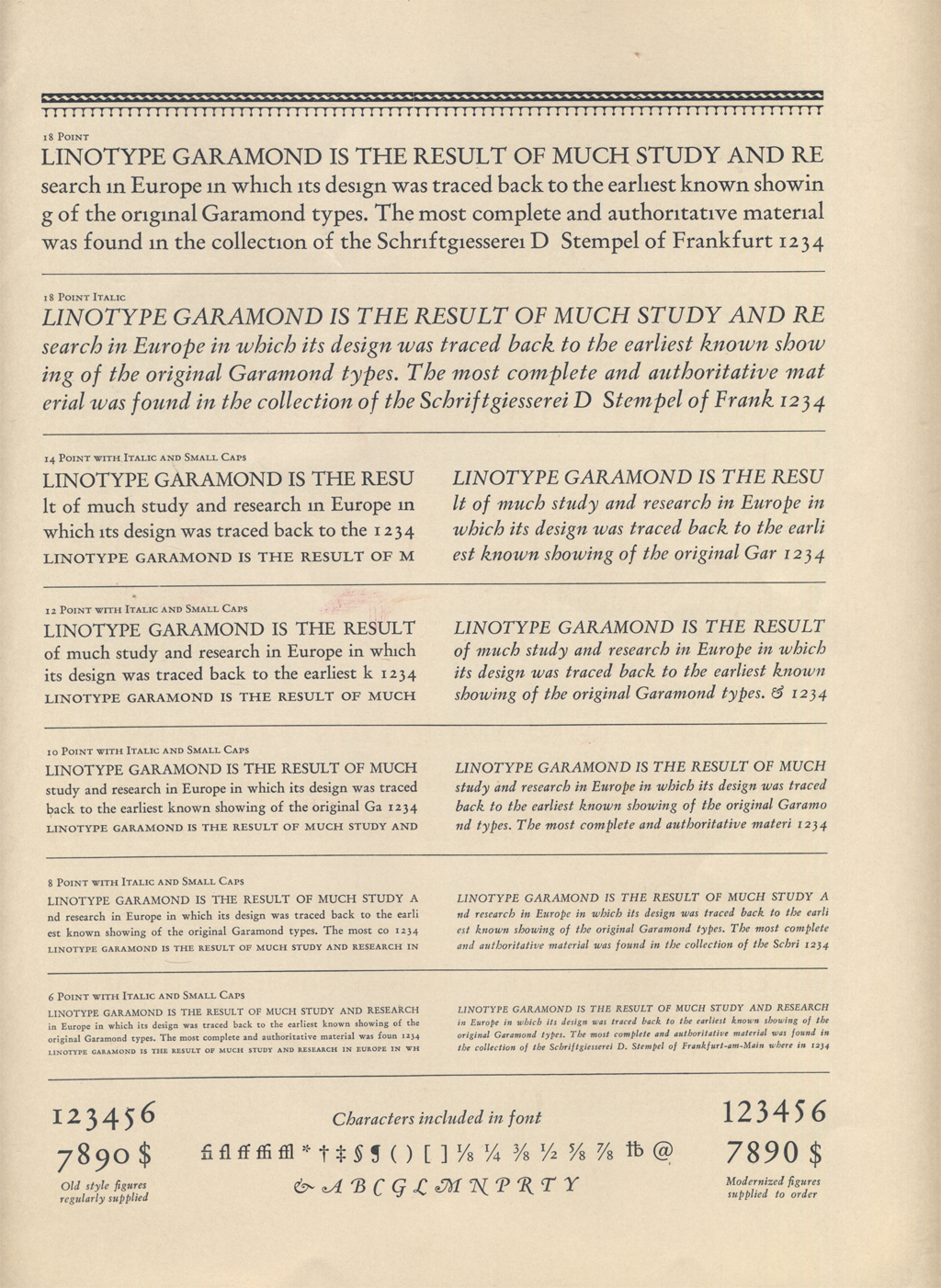 The Linotype Garamond Series in The Linotype Magazine (July 1926), p. 129.
