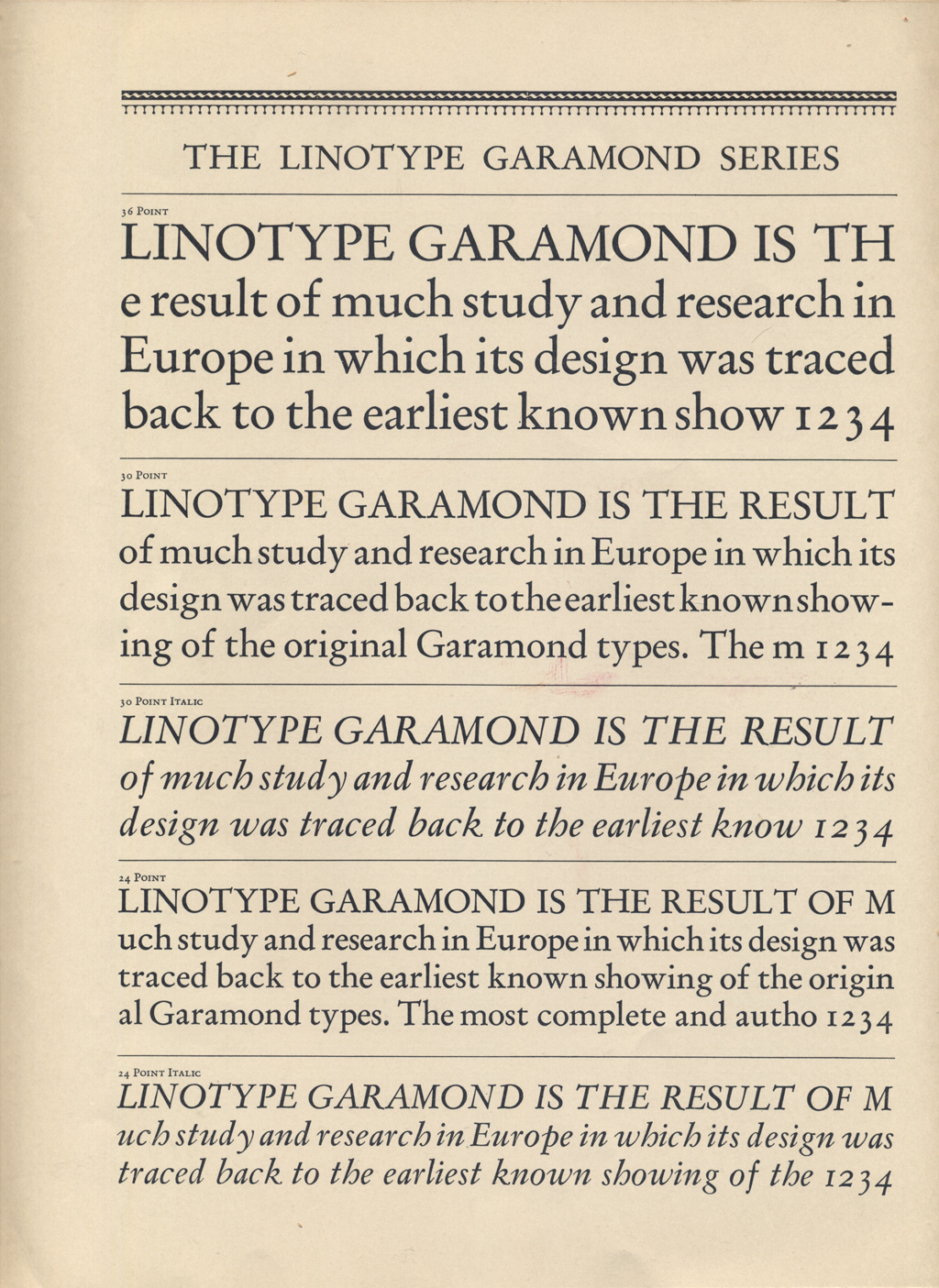 The Linotype Garamond Series (24–36 pt) in The Linotype Magazine (July 1926), p. 128.
