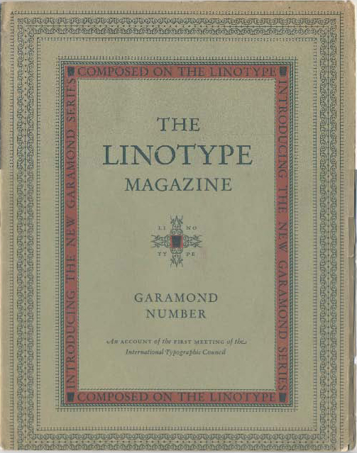 The Linotype Magazine (July 1926)—Garamond Number—cover.