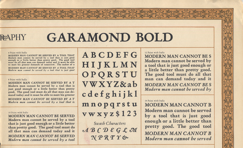 Detail of Linotype Garamond Bold from The Linotype Magazine (September 1927).