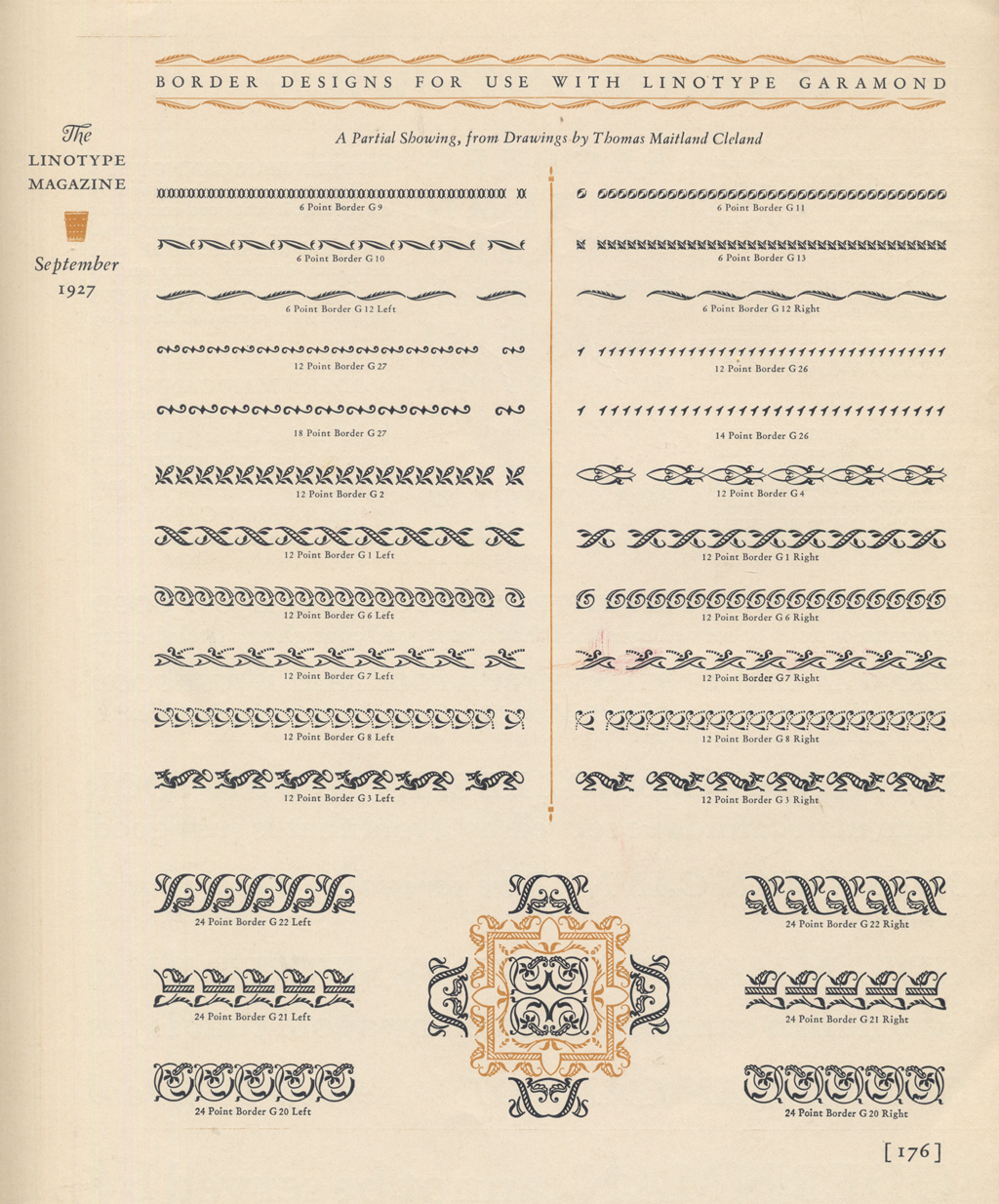 Linotype Garamond Borders by T.M. Cleland (cropped). From The Linotype Magazine (September 1927).