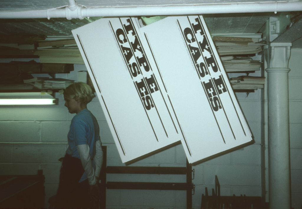 Sheets for Type Cases hanging from the ceiling. The Typography Workshop, Clerkenwell, London (1995). Photograph by Paul Shaw.
