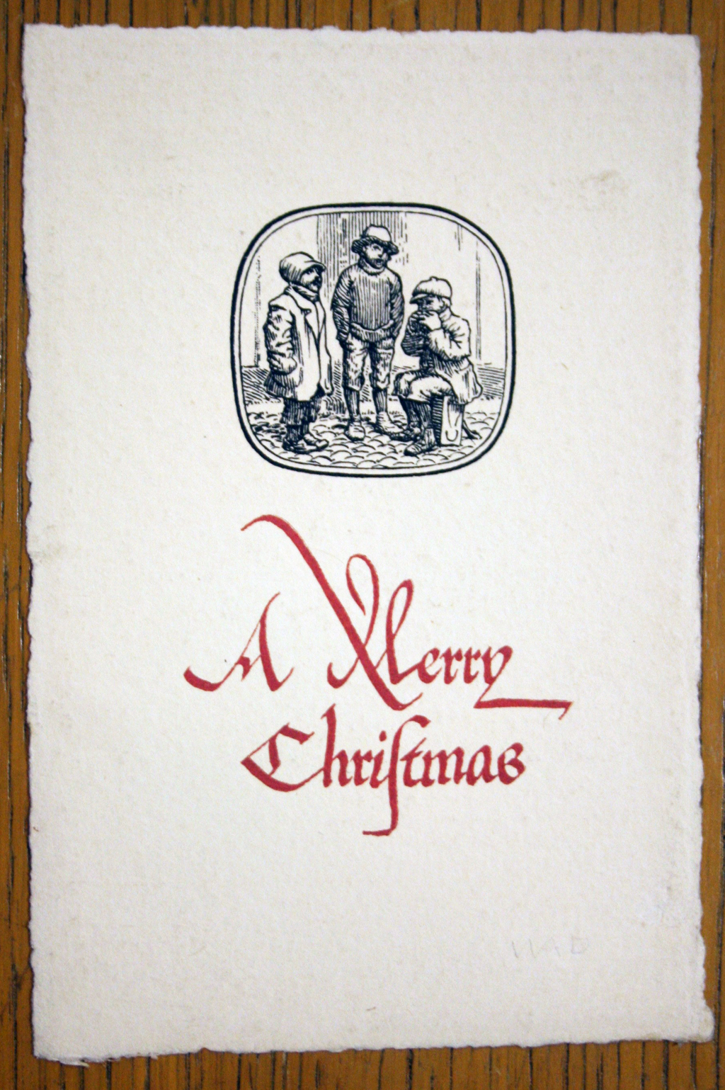Christmas card designed, illustrated and lettered by W.A. Dwiggins. Designed for Alfred Bartlett, 1908.