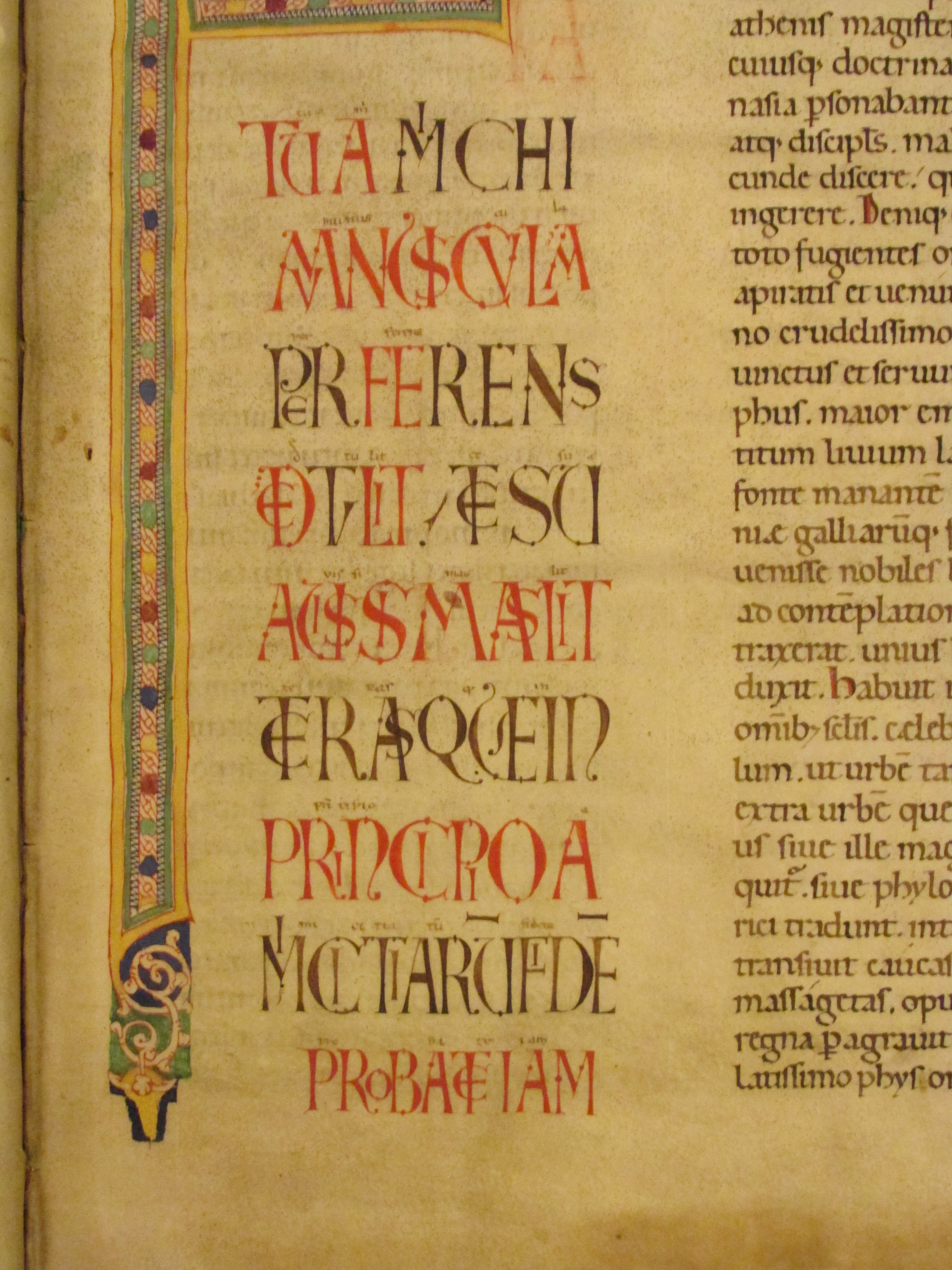 Detail of Carolingian manuscript at the Biblioteca del Seminario Vescovile, Padua. Photograph by David Wolske, 2013.