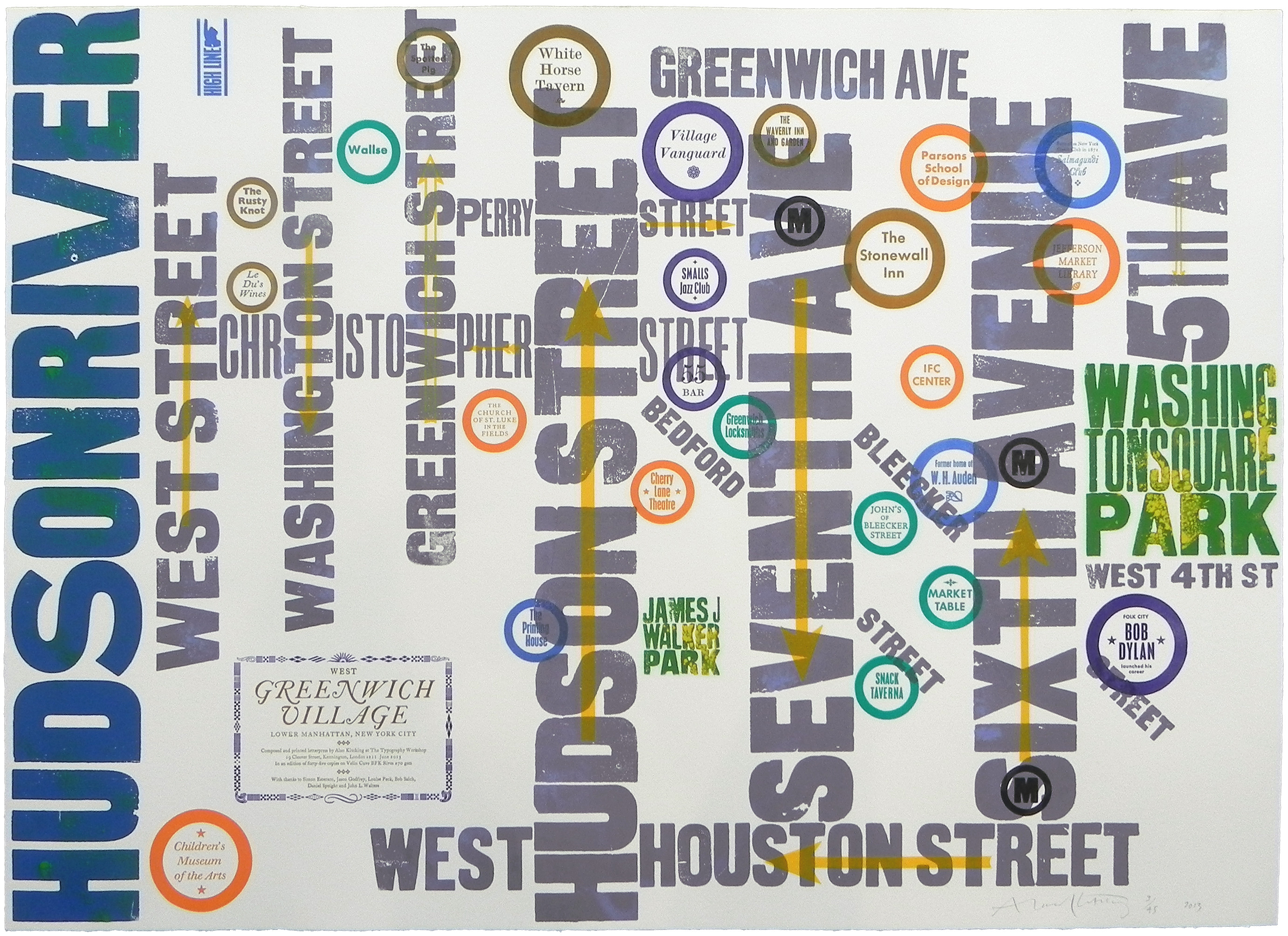West Greenwich Village. Letterpress print designed by Alan Kitching, 2013.