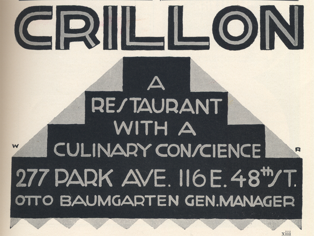 Crillon Restaurant advertisement from Creative Art (1929).