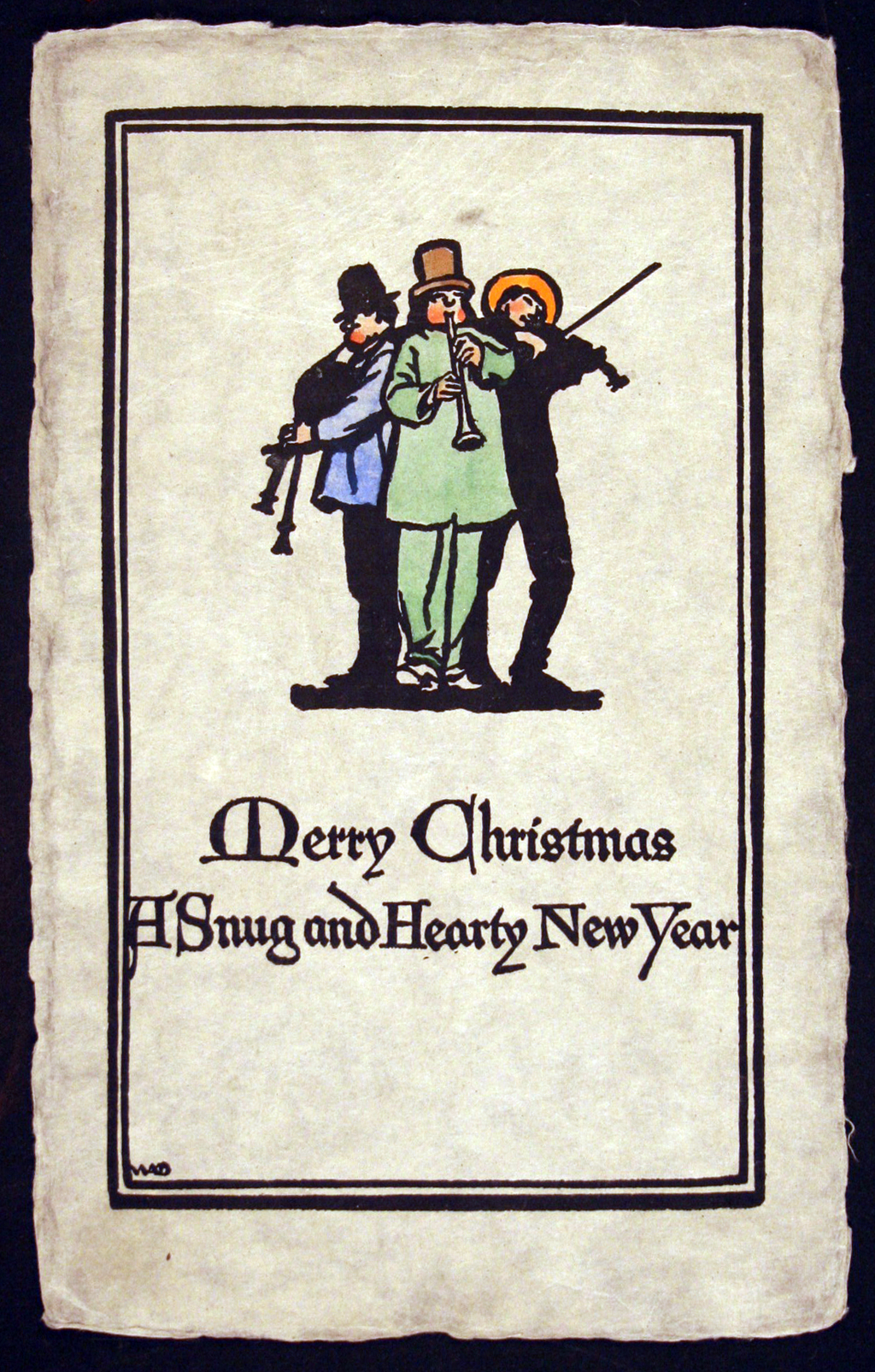 Christmas card for Willis A. Boughton (1915). Design, lettering and illustration by W.A. Dwiggins.