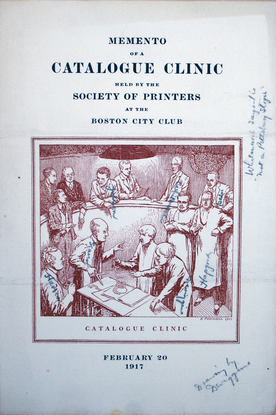 Memento of a Catalogue Clinic. Illustration by W.A. Dwiggins. C.F. Whitmarsh is in the back row, second from the right.