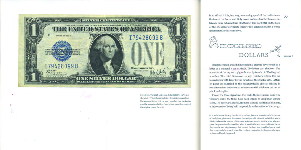 Towards a Reform of the Paper Currency… by W.A. Dwiggins (Kat Ran Press, 2014), foldout showing front of one dollar bill.