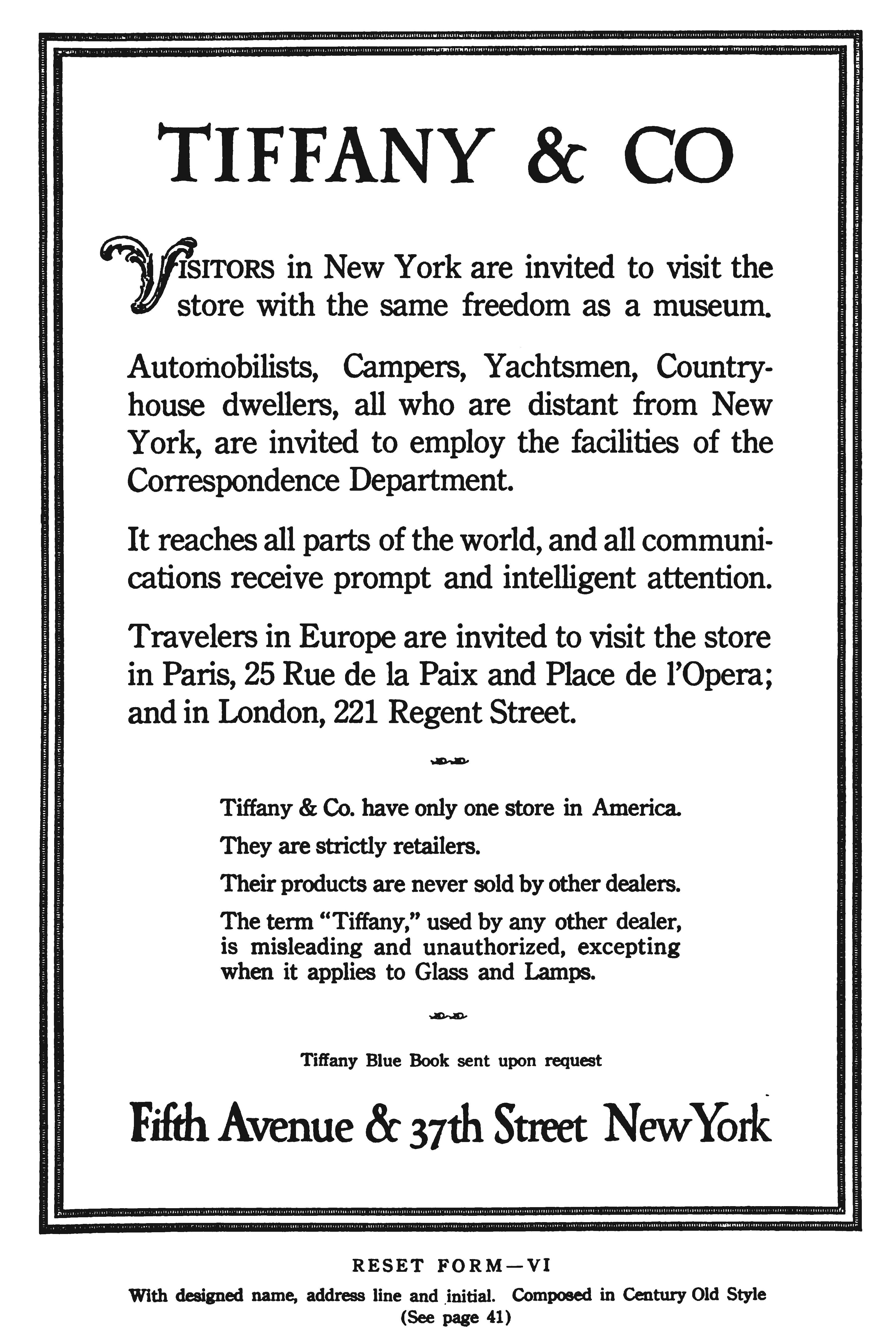Redesigned Tiffany & Co. advertisement by W.A. Dwiggins.