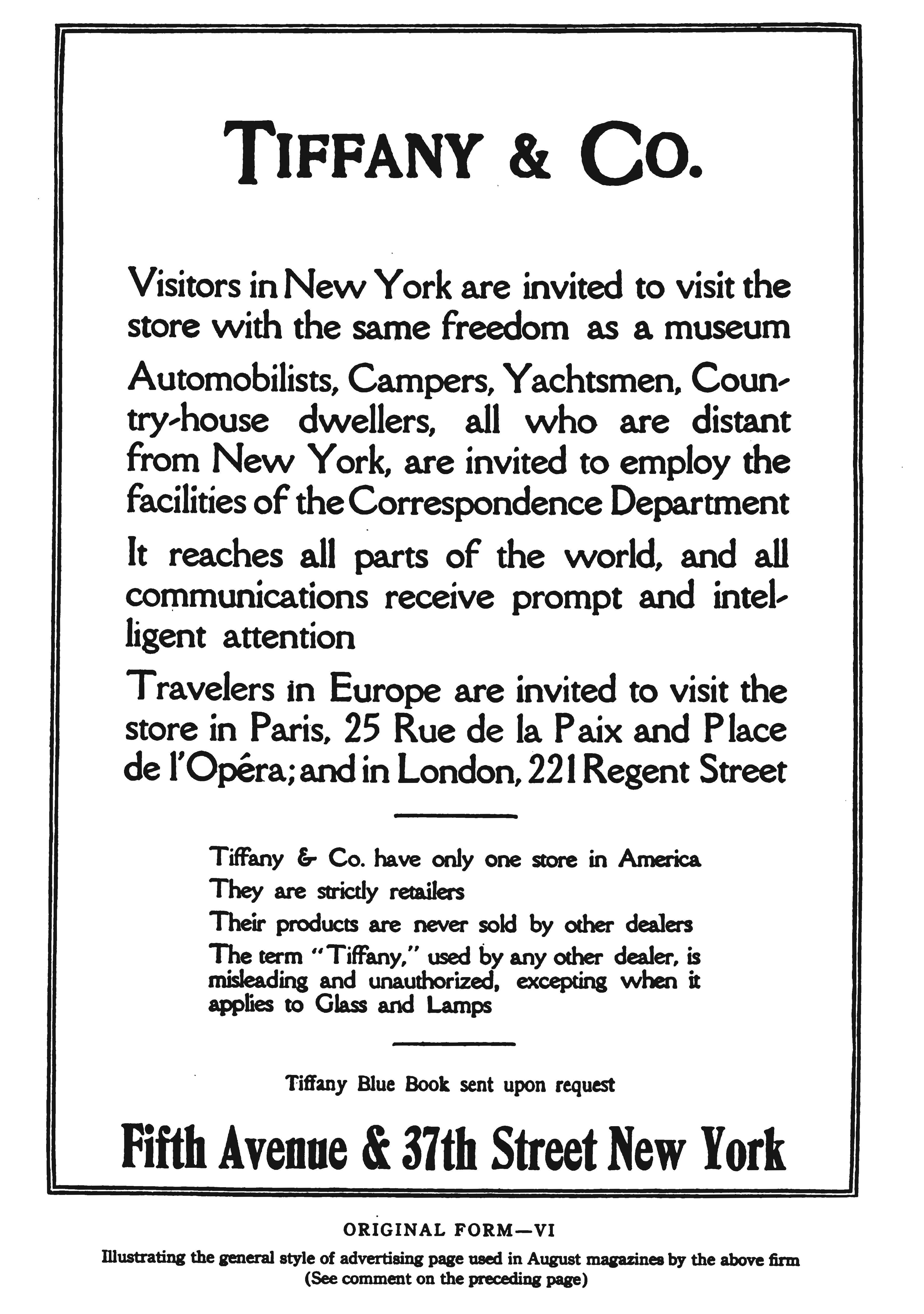 Original Tiffany & Co. advertisement