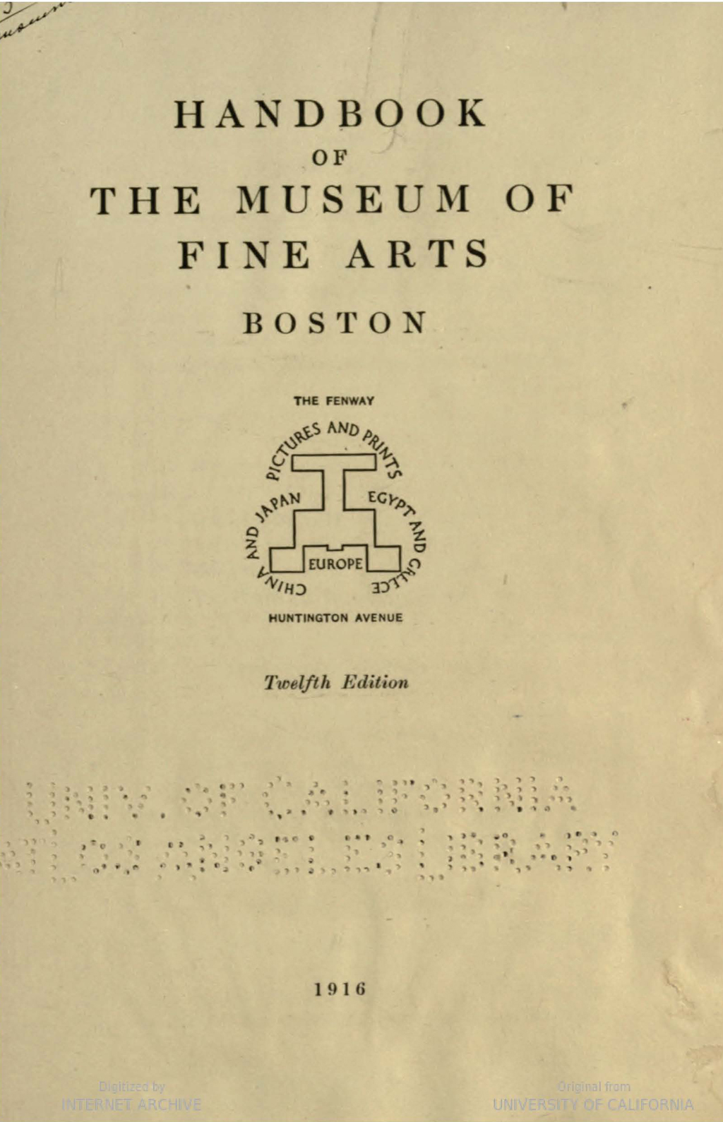 Handbook of the Museum of Fine Arts (1916). Cover with diagram by W.A. Dwiggins.