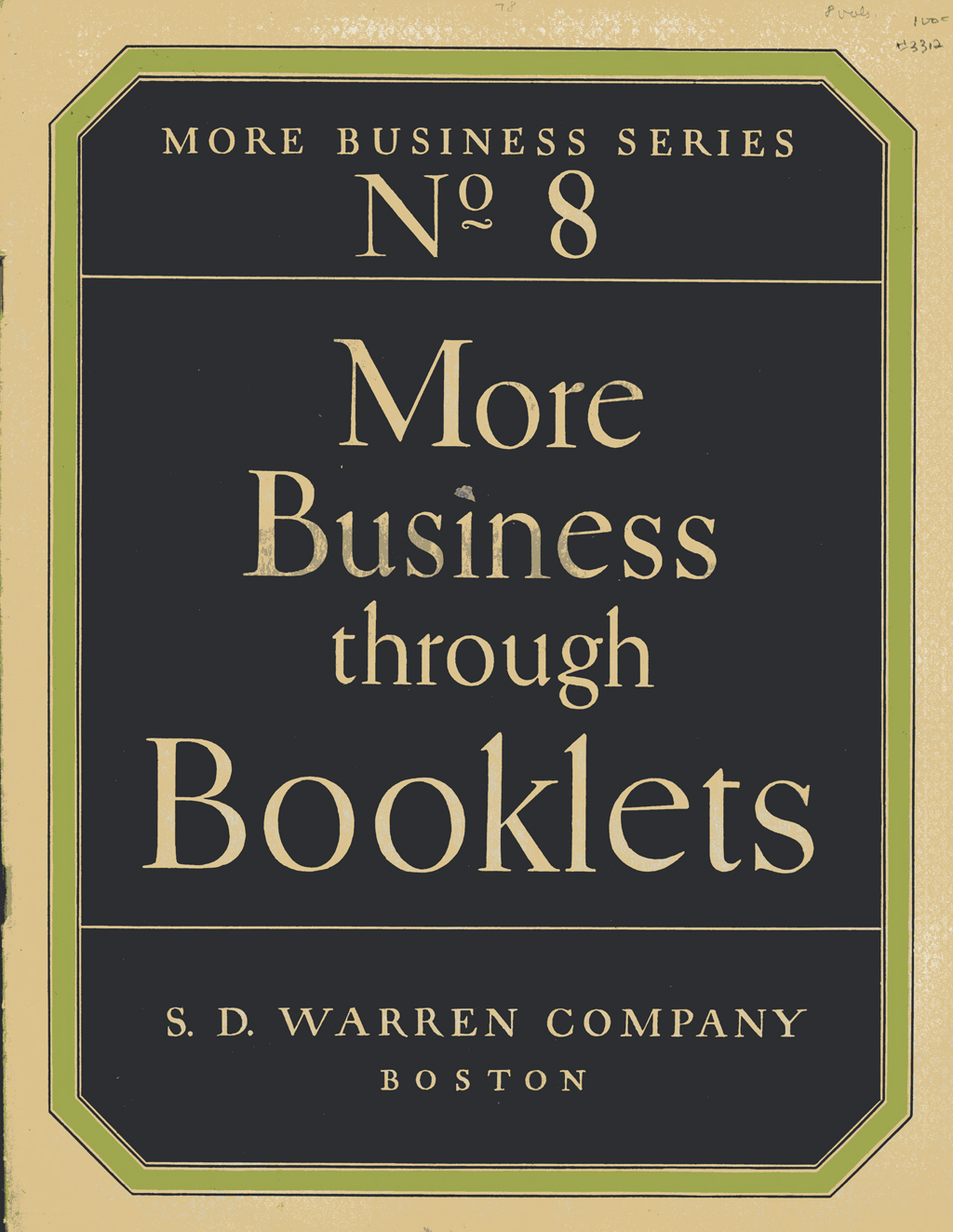 Cover of More Business through Booklets (S.D. Warren, 1922). Design and lettering by W.A. Dwiggins.