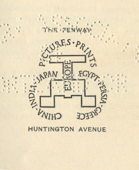 Detail from the cover of Handbook of the Museum of Fine Arts (13th edition, 1919). Design and calligraphy by W.A. Dwiggins.