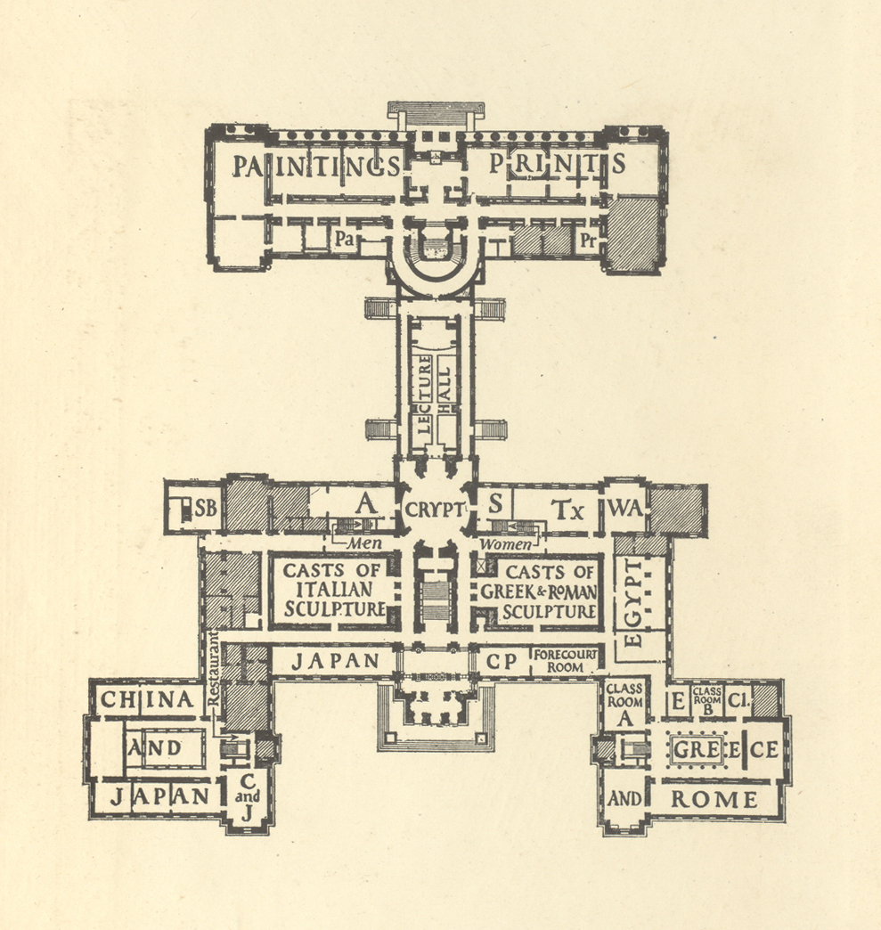 Ground floor plan of Museum of Fine Arts galleries. Design by W.A. Dwiggins. From Handbook of the Museum of Fine Arts (13th edition, 1919).