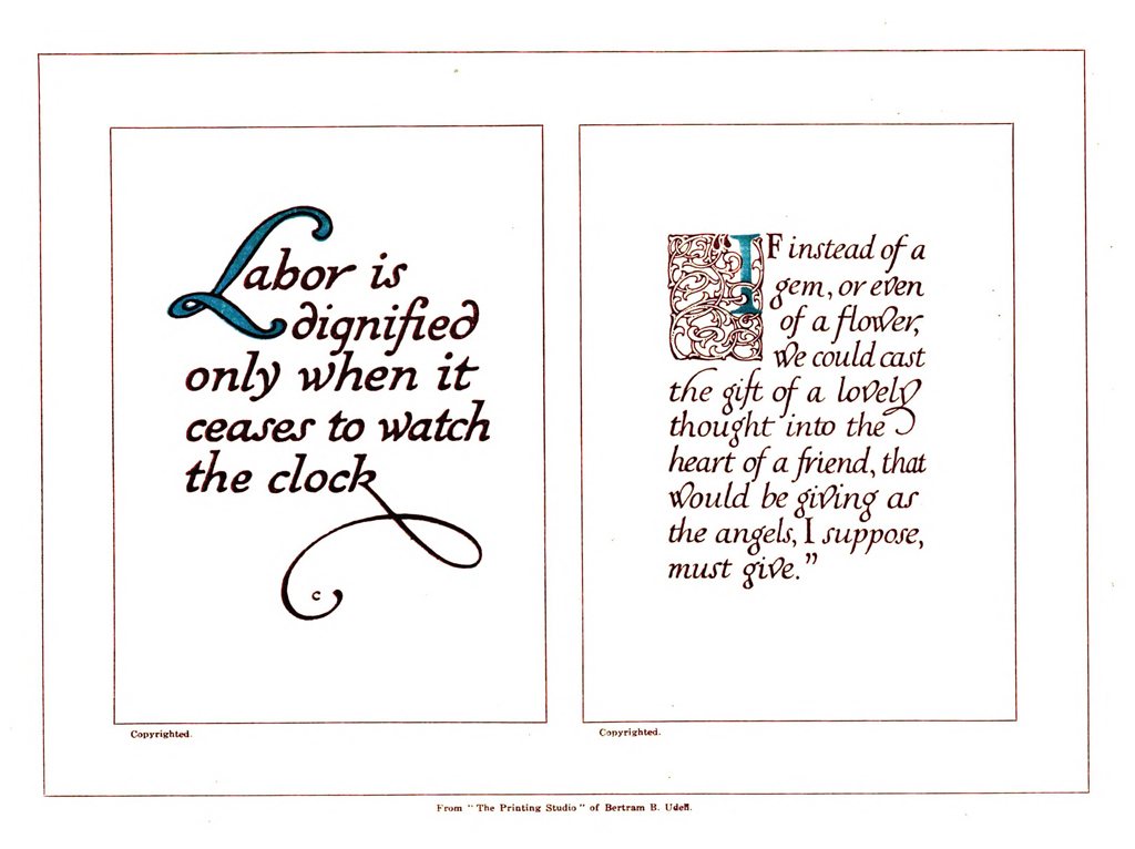 """Left: """"Labor is dignified…"""" Lettering by Thomas Maitland Cleland."""
