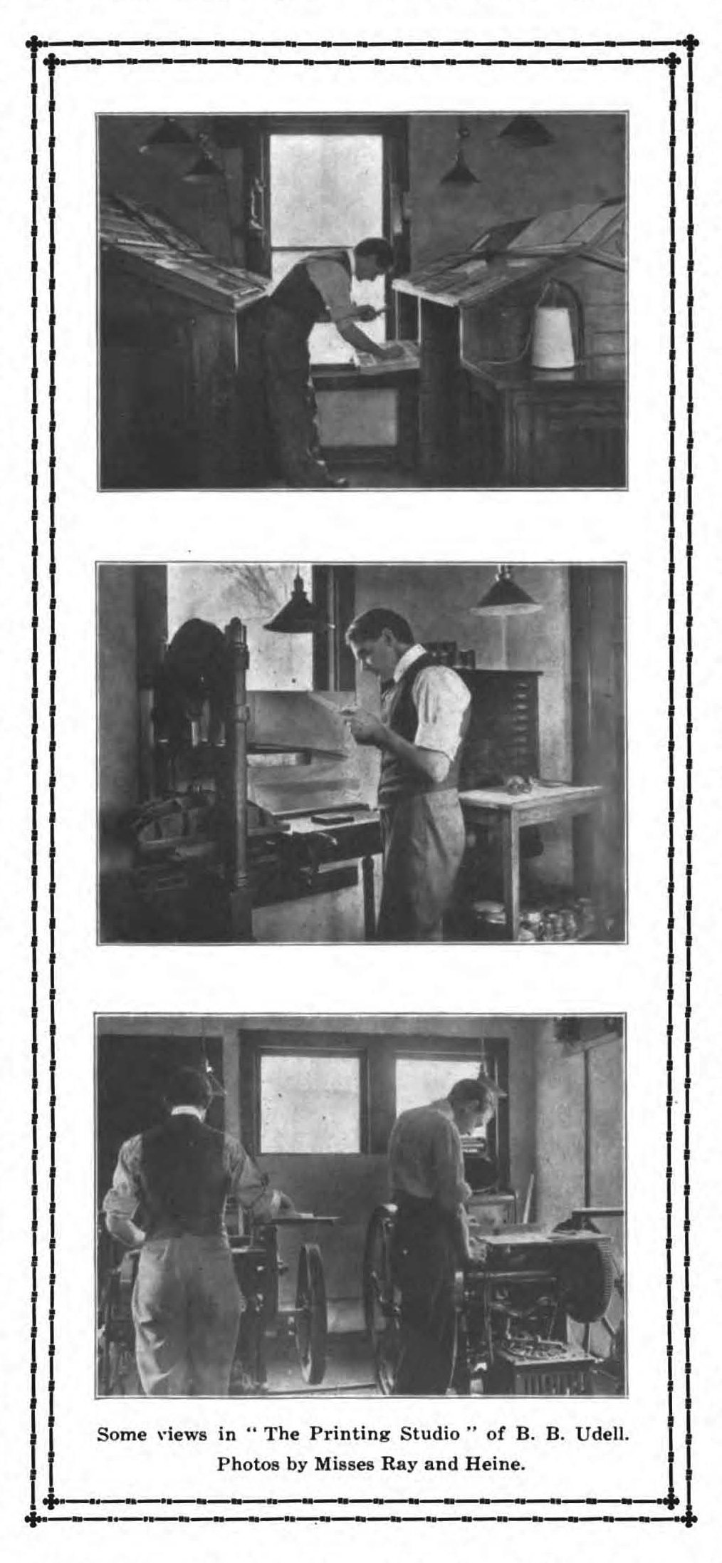 The Printing Studio of B.B. Udell. Photographs by