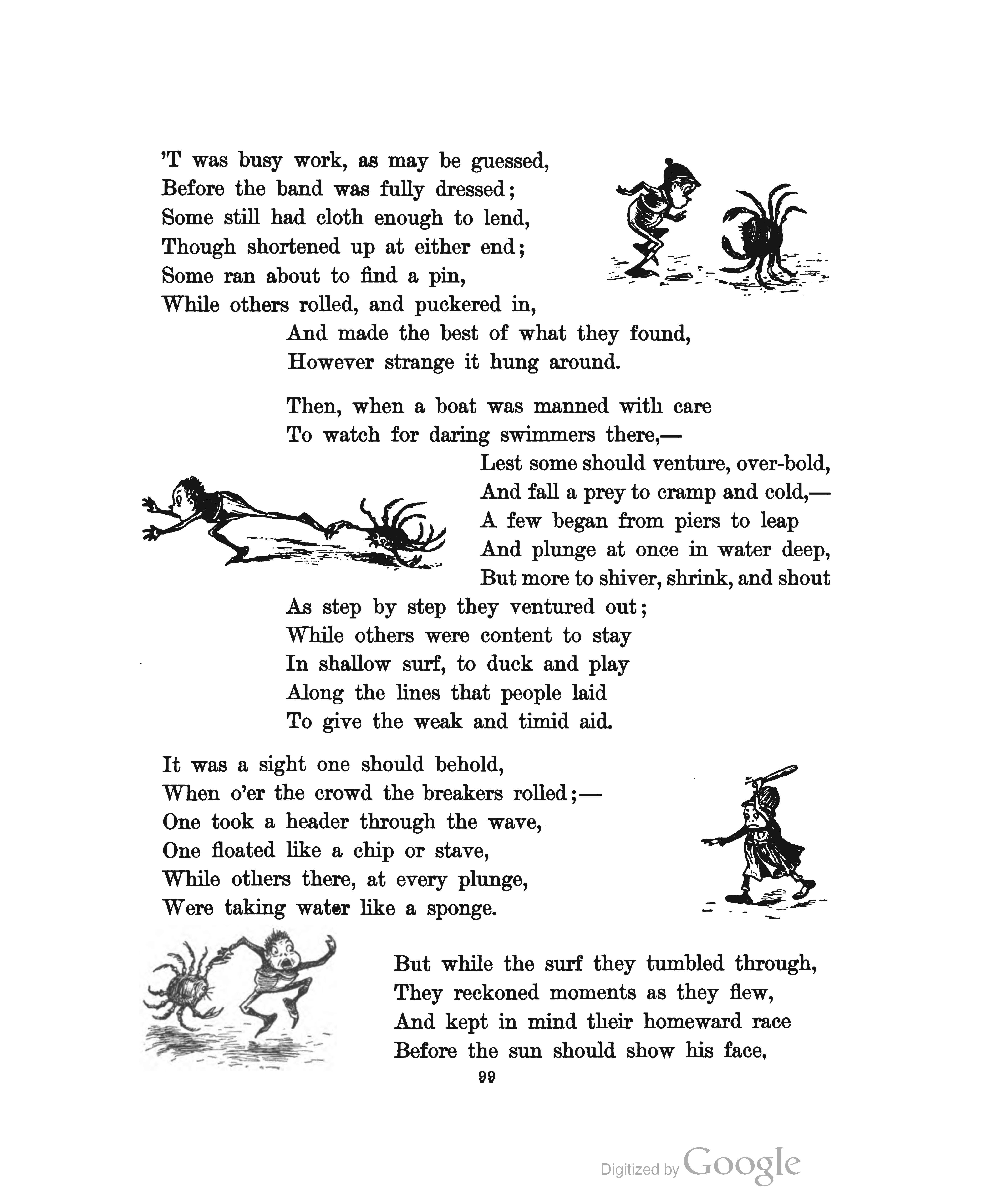 "Page from ""The Brownies at the Seaside"" in The Brownie Book (1887)."