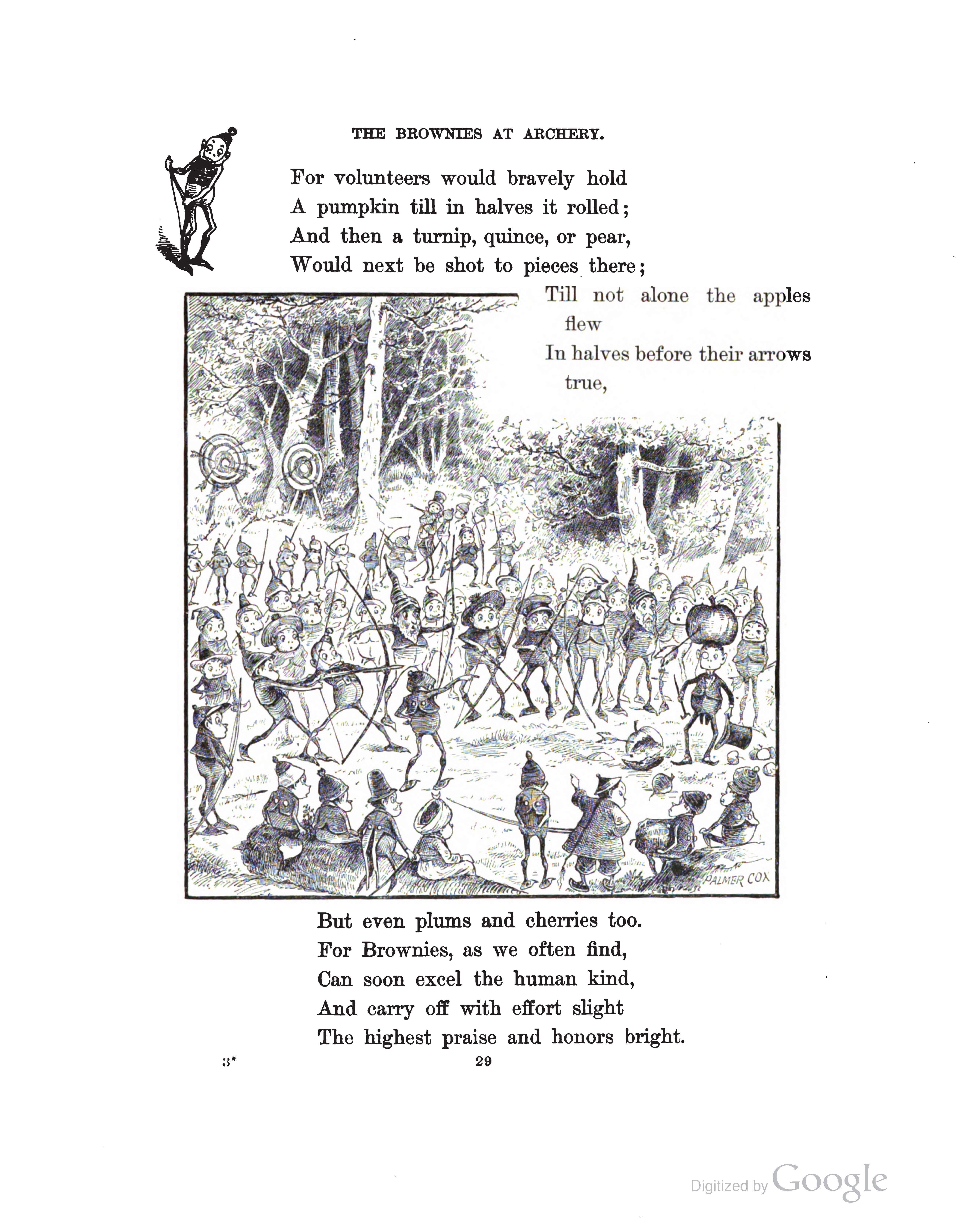 """The Brownies at Archery"" from Another Brownie Book (1890), p. 29."