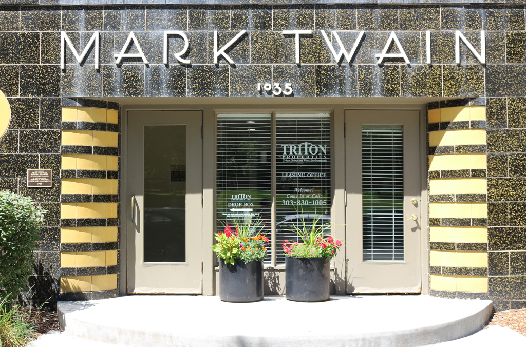 Detail of facade of Mark Twain apartment building