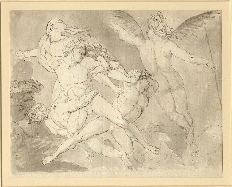 """Satan Rousing His Legions"" illustration by John Flaxman for Paradise Lost. Pen and ink over graphite. British Museum."