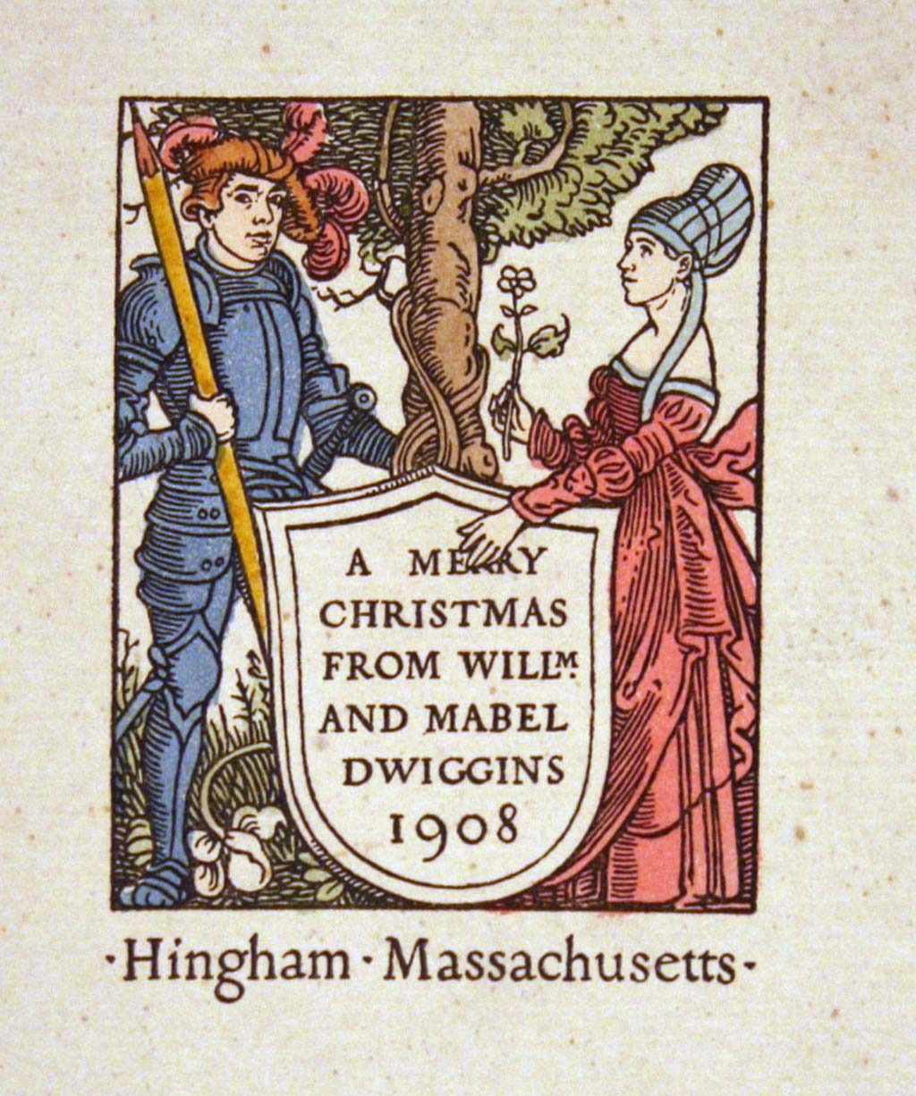 Christmas and New Year's card by W.A. Dwiggins (1908). Handcolored.