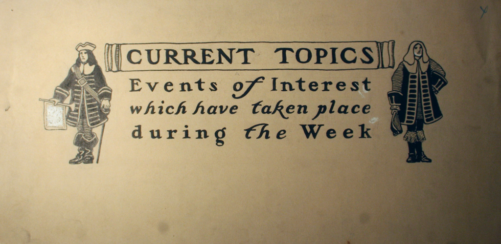 Current Topics. Illustration and lettering by W.A. Dwiggins for an unidentified publication. n.d.