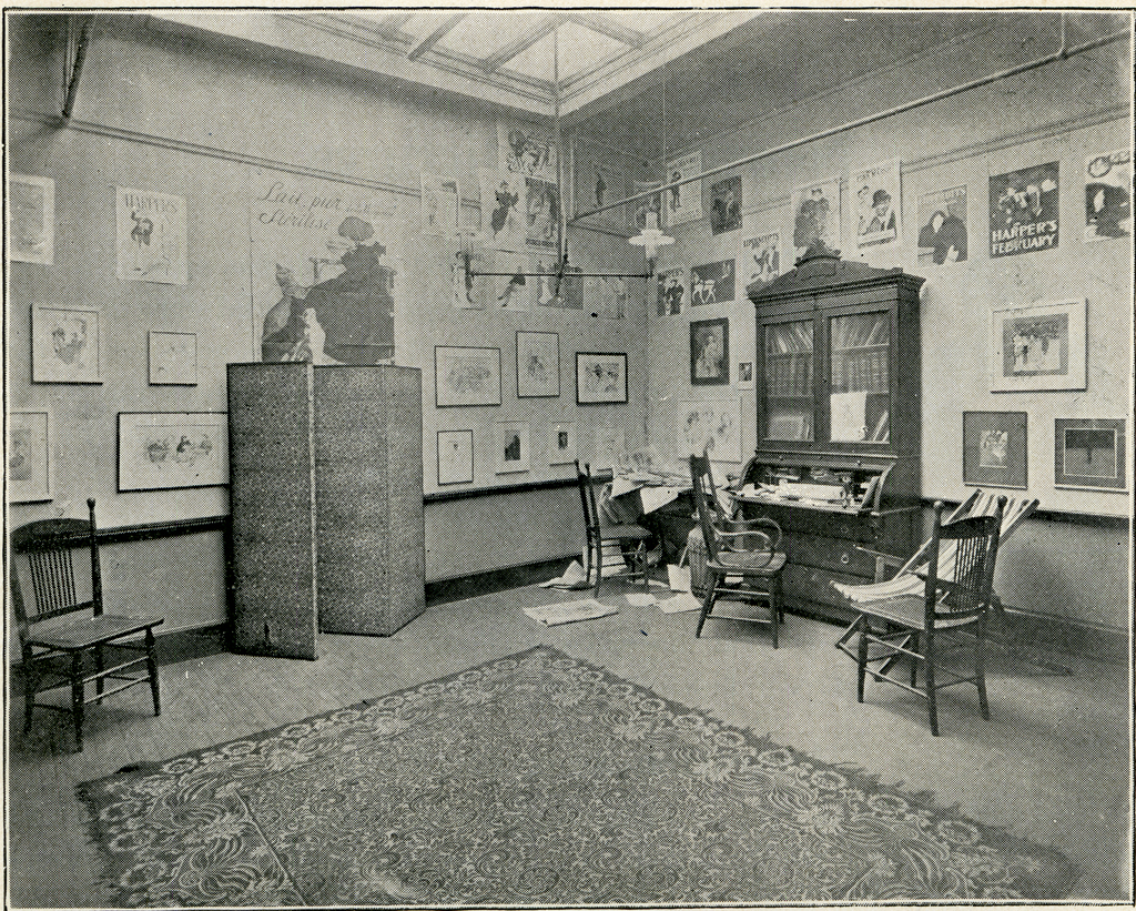 Frank Holme's office at his School of Illustration (1898). From Newspaper Pictures: THe School of Illustration (Chicago: Marsh & Grant Priint Co.m, 1989)., p. 2.