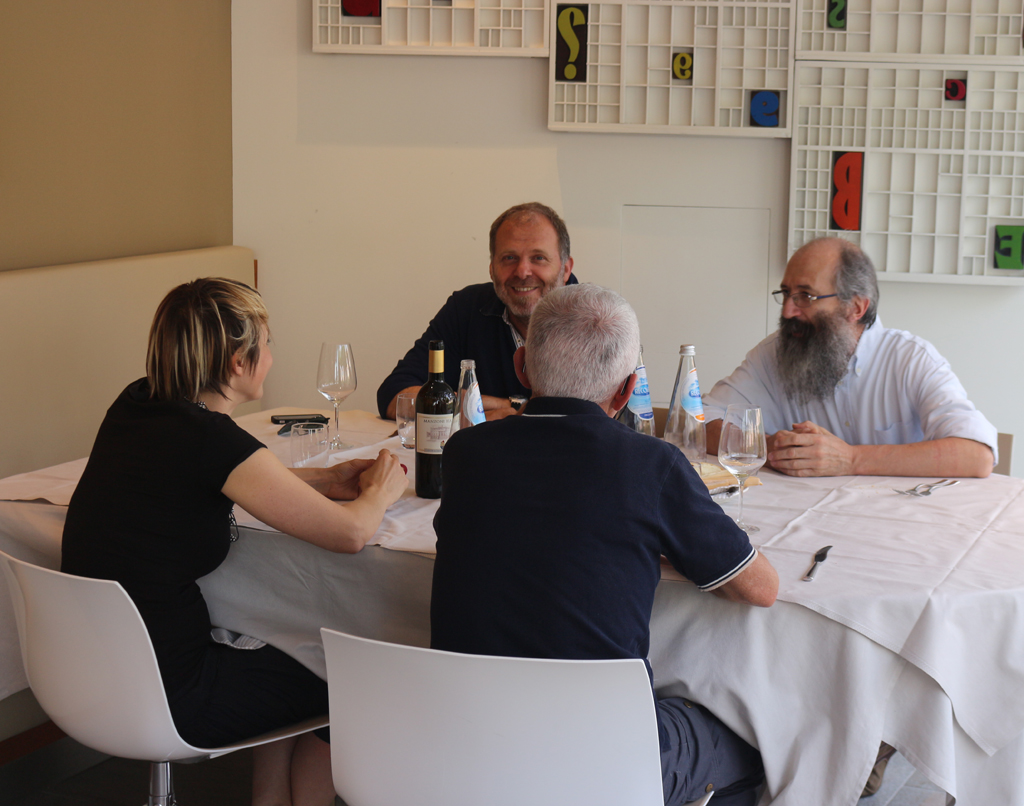 Laura del Maso, Lucio, Sandro Berra and Daniele enjoying lunch at Le Corderie (2015). Photograph by Paul Shaw.