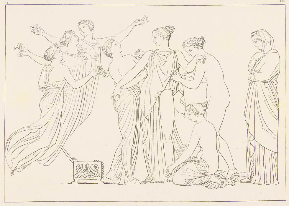 Pandora Attired by John Flaxman from Work's and Days by Hesiod (1817).