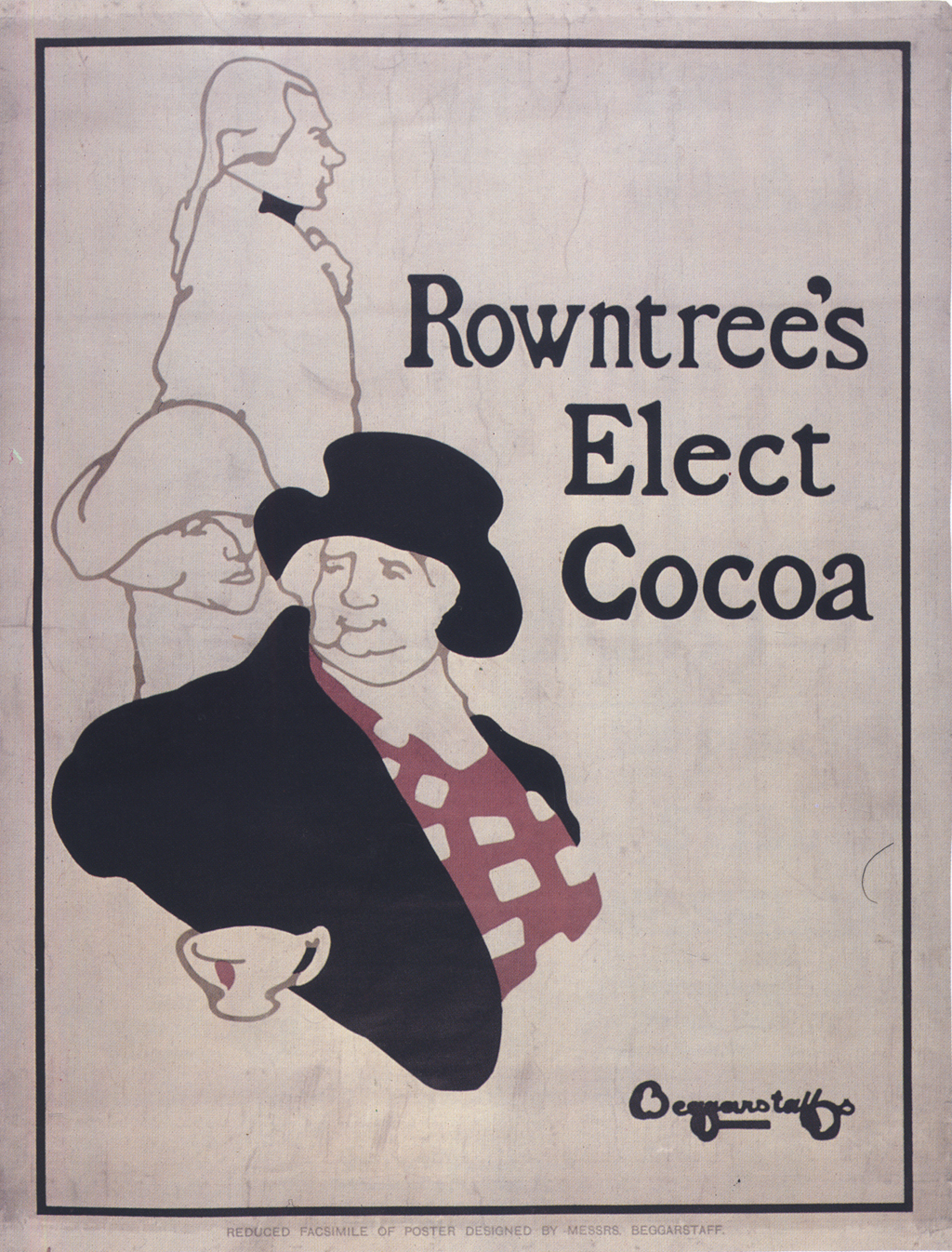 Rowntree's Elect Cocoa (1896). Poster by The Beggarstaff Brothers (William Nicholson and James Pryde). Lithograph.