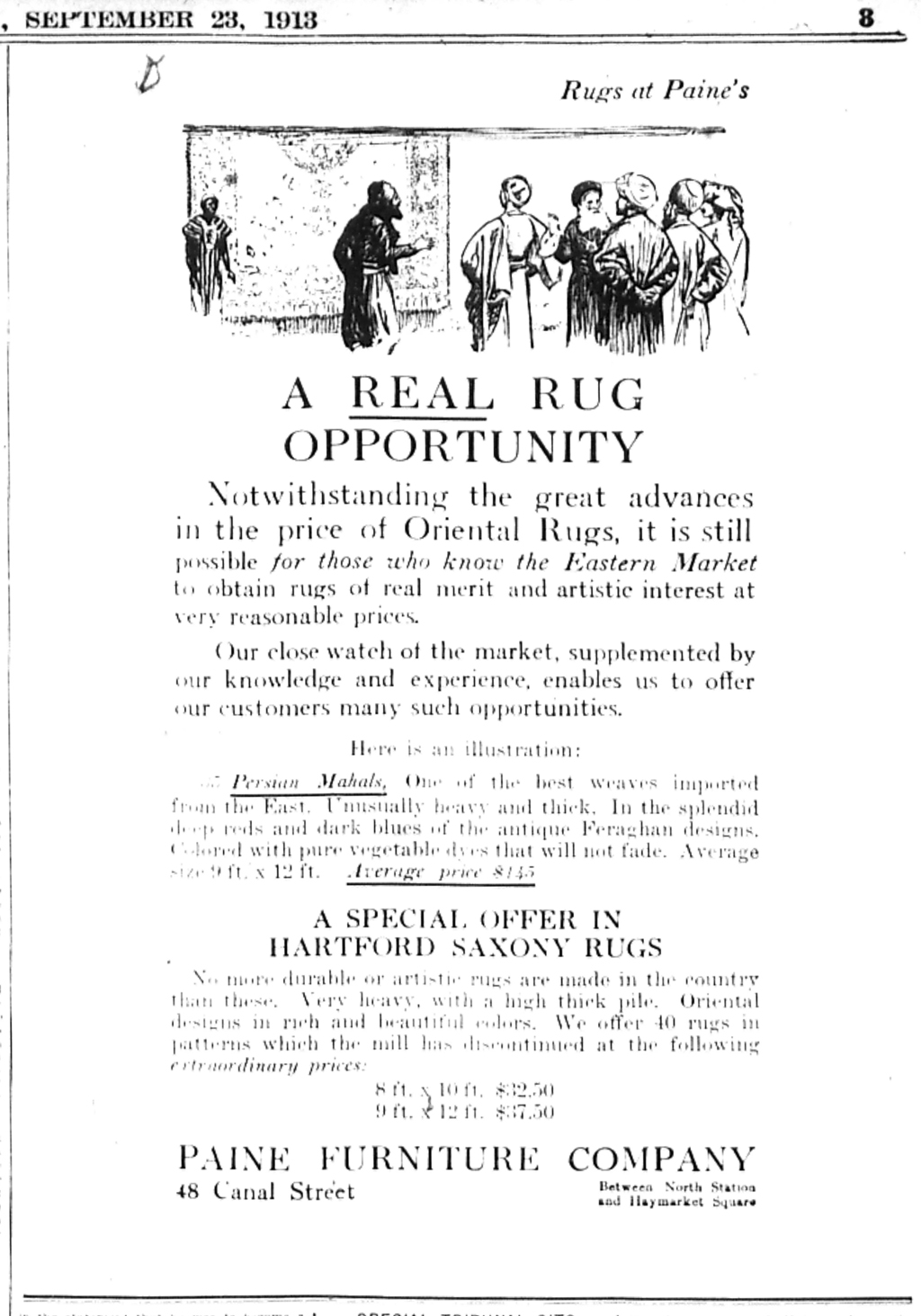 A Real Rug Opportunity. Advertisement for Paine Furniture Company, The Boston Evening Transcript, 23 September 1913. Illustration by W.A. Dwiggins.