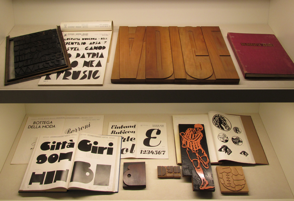 Exhibition of wood type and wood type specimen books at the Tipoteca. Photograph by David Wolske.
