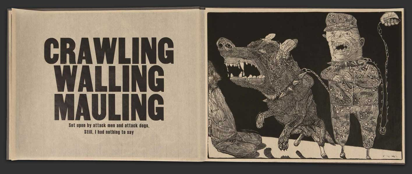 """Crawling Walling Mauling"" from Cry Uncle by Frances Jetter (2009). Letterpress printing by Peter Kruty Editions."