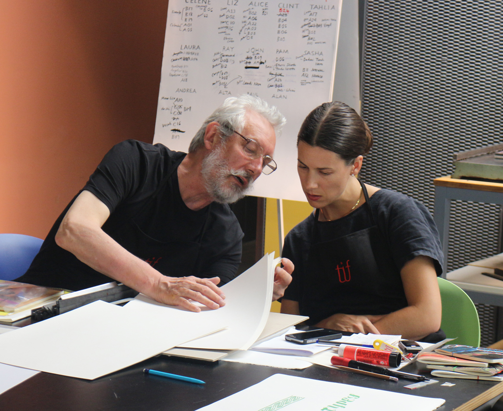 Alan Kitching and Alta Price in discussion during the Legacy of Letters 2015 workshop. Photograph by Paul Shaw (2015).