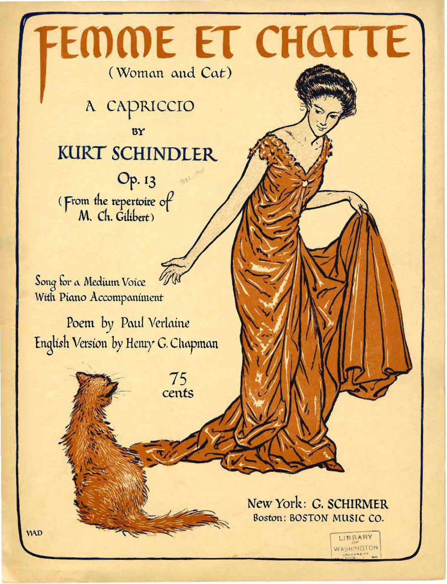 Femme et Chatte by Kurt Schindler (New York: G. Schirmer, 1911). Cover design, illustration and lettering by W.A. Dwiggins.