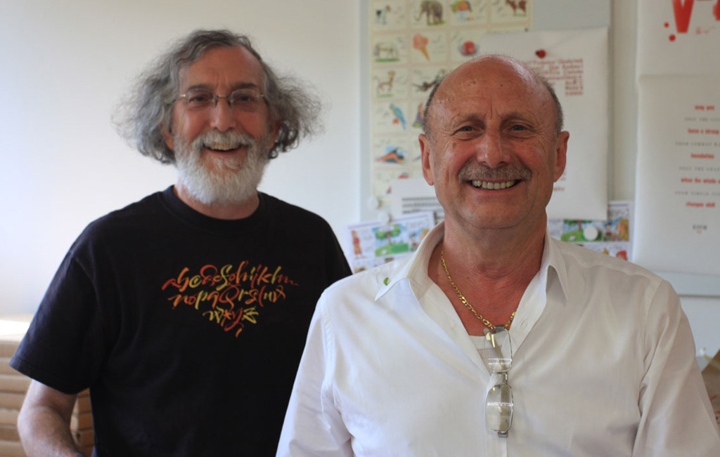 Paul Shaw and Silvio Antiga at the Tipoteca. Photograph by Alexander Trubin (2012).