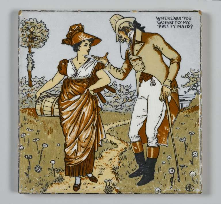 Walter Crane tile from Maosiac Tile Company of Zanesville, Ohio. Illustration taken from Walter Crane's Picture Book (1900)