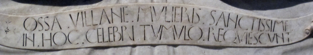 Fig. 30. Detail of the inscription on the Tomb of the Beata Villana (1451) by the workshop of Bernardo Rossellino.